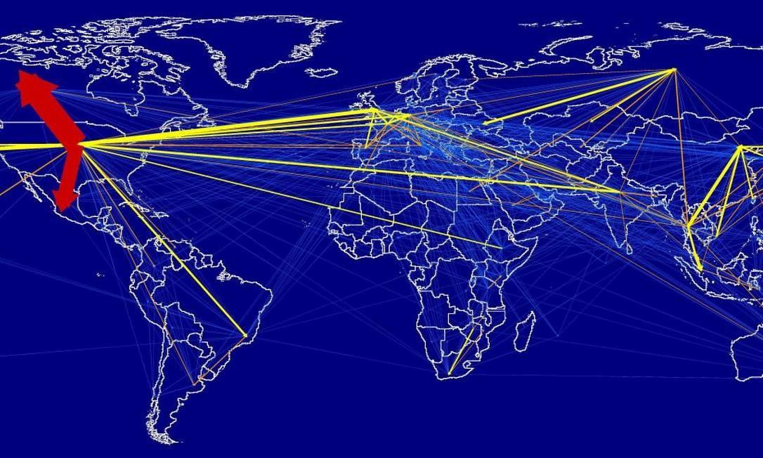 Ilustração mostra a pegada de carbono das viagens aéreas e seu fluxo pelo munto em 2013: segundo pesquisadores, deslocamentos geram emissões de cerca de 1 bilhão de toneladas de CO2 anuais, ou cerca de 23% da pegada de carbono total da indústria do turismo Foto: / Divulgação/Universidade de Sydney