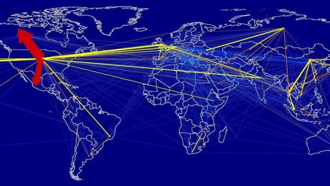 Ilustração mostra a pegada de carbono das viagens aéreas e seu fluxo pelo munto em 2013: segundo pesquisadores, deslocamentos geram emissões de cerca de 1 bilhão de toneladas de CO2 anuais, ou cerca de 23% da pegada de carbono total da indústria do turismo Foto: Divulgação/Universidade de Sydney