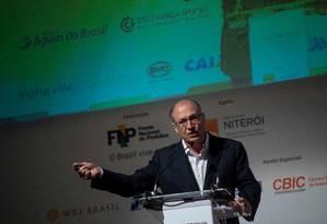 Geraldo Alckmin participa de evento da Frente Nacional de Prefeitos (FNP), em Niterói (RJ). Foto: MAURO PIMENTEL / AFP