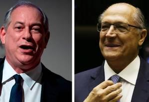 Os pré-candidatos à Presidência do PDT, Ciro Gomes, e do PSDB, Geraldo Alckmin Foto: Montagem sobre fotos de arquivo