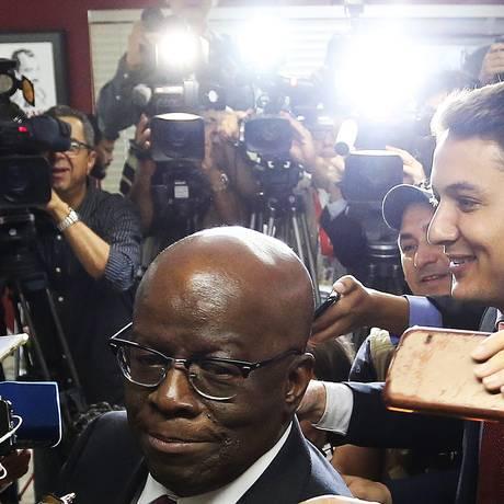 Joaquim Barbosa na sede do PSB em Brasília Foto: Ailton de Freitas 19/04/2018 / Agência O Globo