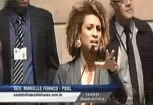 Marielle: Em defesa da palavra da mulher na Câmara Foto: Reprodução