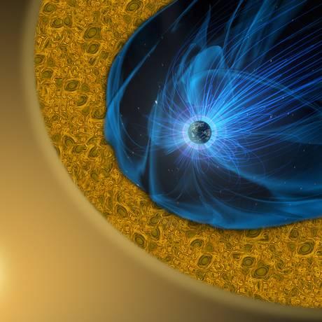 Ilustração mostra o vento solar (o 'nevoeiro' amarelo) fluindo em torno do campo magnético da Terra (as linhas de força azuis) e formando a região fronteiriça turbulenta da magnetopausa (área amarela com redemoinhos): fenômenos de reconexão em pequena escala nesta primeira área de interação descobertos agora ajudariam a explicar a dissipação da energia desta poderosa interação Foto: Nasa/Centro de Voo Espacial Goddard