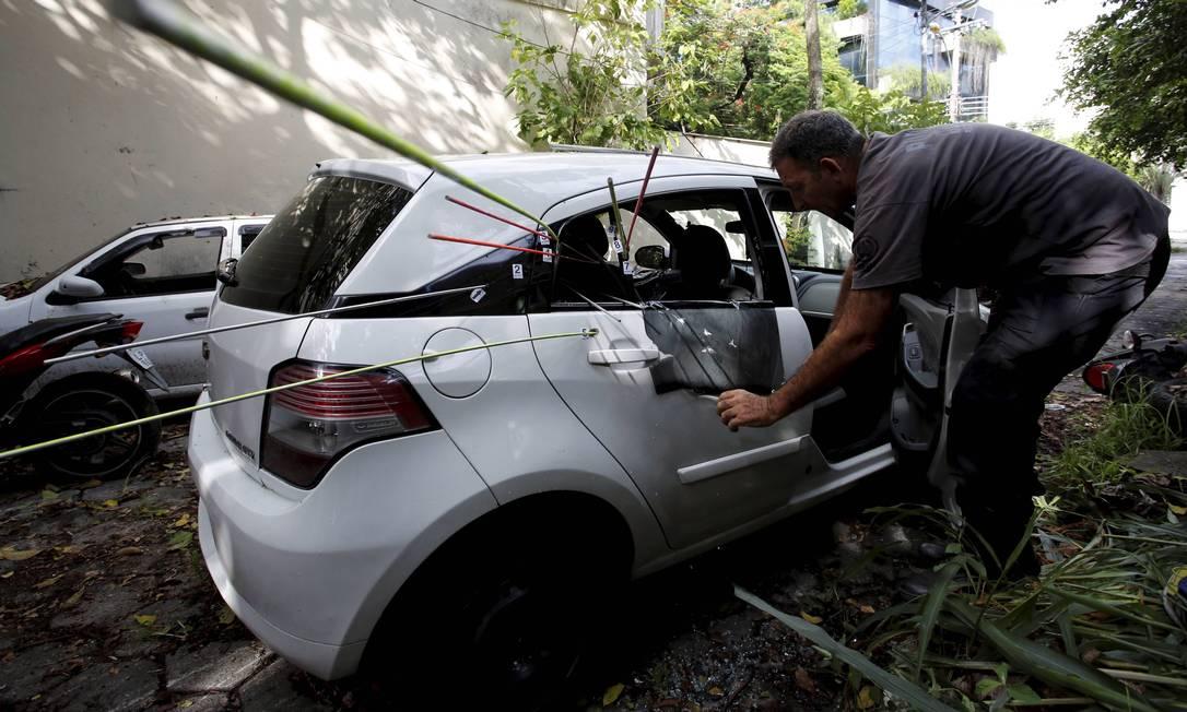 Carro onde estava Marielle Franco e Anderson Gomes no dia do crime Foto: Pablo Jacob / Agência O Globo