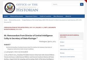 Documento da CIA diz que Geisel autorizou execuções na ditadura Foto: Reprodução