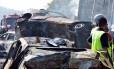 Um acidente envolvendo 36 veículos em Jacareí, SP