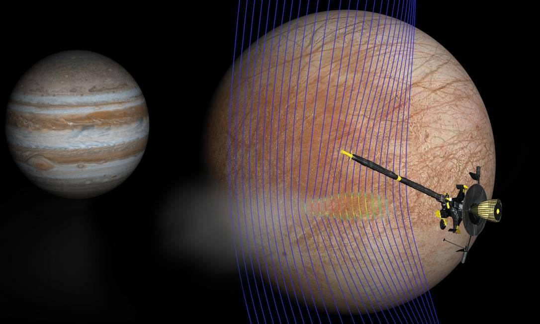 Ilustração mostra a sonda Galileo passando por Europa, uma das grandes luas de Júpiter (ao fundo) e detectando leve distorção em seu campo magnético que ajuda a corroborar presenção de jatos de material sendo lançados do oceano sob sua superfície congelada Foto: / NASA/JPL-Caltech/Univ. de Michigan