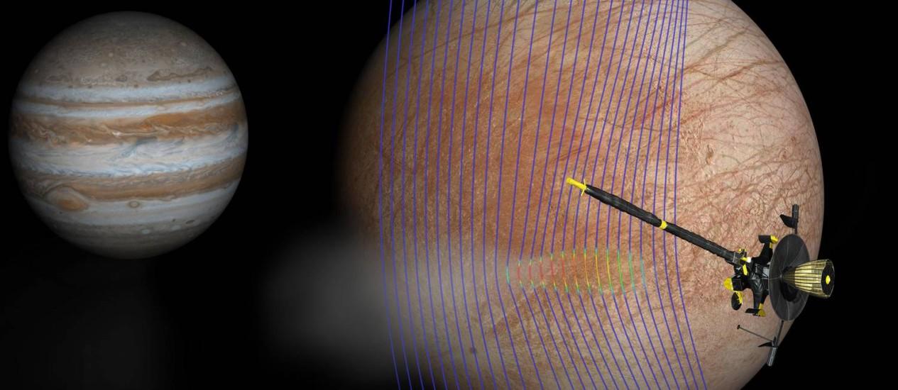 Ilustração mostra a sonda Galileo passando por Europa, uma das grandes luas de Júpiter (ao fundo) e detectando leve distorção em seu campo magnético que ajuda a corroborar presenção de jatos de material sendo lançados do oceano sob sua superfície congelada Foto: NASA/JPL-Caltech/Univ. de Michigan