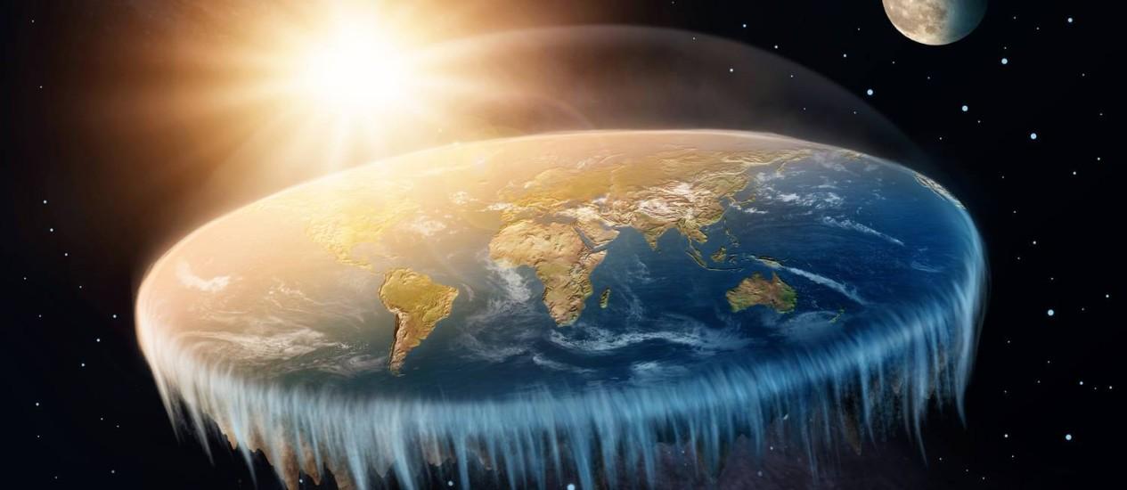 Ilustração mostra a 'Terra plana' que alguns negacionistas da ciência dizem ser o real formato de nosso planeta: falta de conhecimento deve ser combatida com mais e melhor informação Foto: Shutterstock/Elena Schweitzer / Shutterstock/Elena Schweitzer