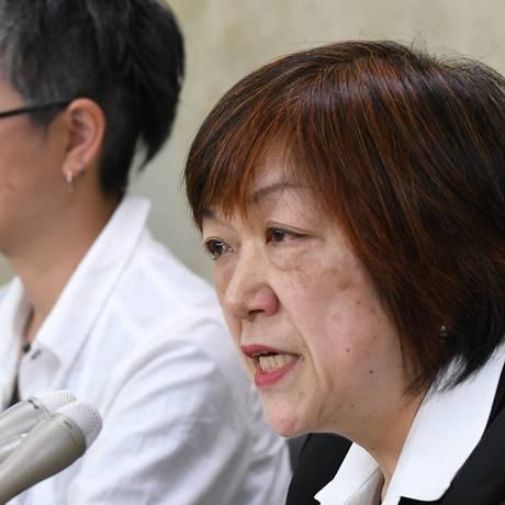 Jornalista japonesa Yoshiko Hayashi durante coletiva de imprensa sobre mobilização contra assédio Foto: KAZUHIRO NOGI / AFP