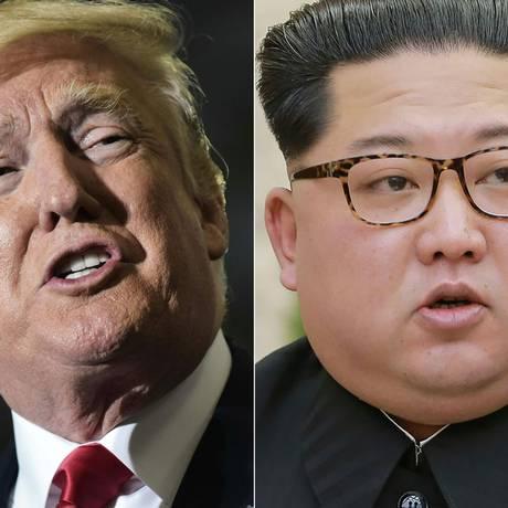 O presidente americano, Donald Trump, e o ditador norte-coreano, Kim Jong-un: histórico encontro entre ambos pode estar ameaçado por manobras militares Foto: MANDEL NGAN - / AFP