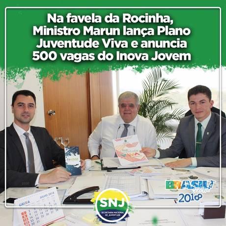 Presença do ministro da Secretaria de Governo, Carlos Marun, na Rocinha foi divulgada em redes sociais Foto: Divulgação
