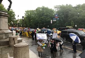 Manifestantes pró-Lula protestam contra Sergio Moro em Nova York Foto: Henrique Gomes Batista