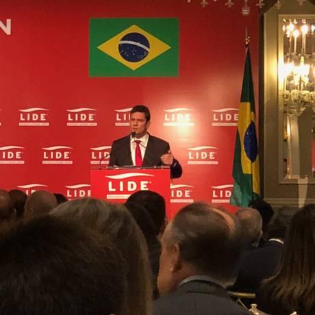 O juiz Sérgio Moro discursa em evento em Nova York Foto: Henrique Gomes Batista / Agência O Globo
