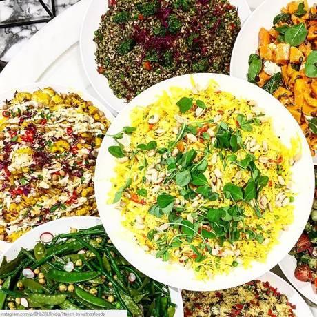 Buffet de saladas vegetarianas do Ethos, restaurante em Londres. Número de britânicos que se dizem vegetarianos aumentou em 360% nos últimos 10 anos Foto: Ethos/Divulgação