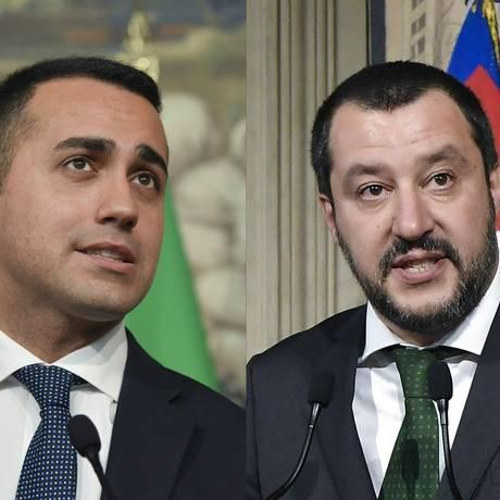 Montagem coloca lado a lado Luigi Di Maio, líder do Movimento Cinco Estrelas, e Matteo Salvini, líder da Liga Foto: TIZIANA FABI / AFP