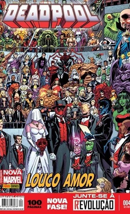 """""""Deadpool mensal 4"""" (setembro/2015) – """"O casamento do Deadpool! Várias histórias fechadas ligadas ao grande evento que definiu a vida do mercenário nos últimos três anos!"""" Foto: Reprodução"""