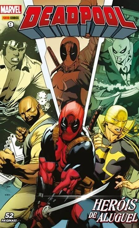 """""""Deadpool 8 e 9"""" (junho/julho/2017) – """"Neste arco da atual série mensal, Deadpool encontra os heróis da Marvel que estão """"bombando"""" no Netflix: Demolidor, Luke Cage e Punho de Ferro. Momento bem representativo da fase atual do personagem do Brasil – em uma saga fechada. Cada revista tem 52 páginas"""" Foto: Reprodução"""
