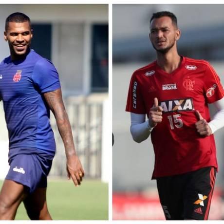 Breno e Réver vão se enfrentar neste sábado, no Maracanã Foto: Divulgação Vasco e Flamengo
