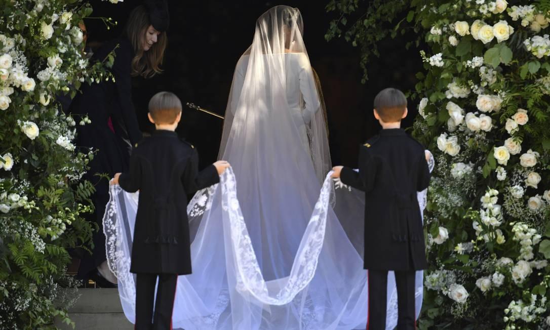 Meghan Markle chega para seu casamento com Principe Harry na Capela de São Jorge em Windsor Castle, Windsor Foto: Ben Stansall / AP