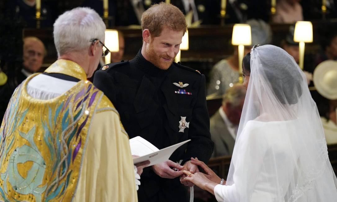 Príncipe Harry e Meghan Markle na Capela de São Jorge no Castelo de Windsor durante o seu serviço de casamento, conduzido pelo Arcebispo de Canterbury Justin Welby Foto: Jonathan Brady / AP