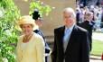 Ex-primeiro ministro John Major e sua mulher, Norma, na chegada para o casamento real Foto: POOL / REUTERS