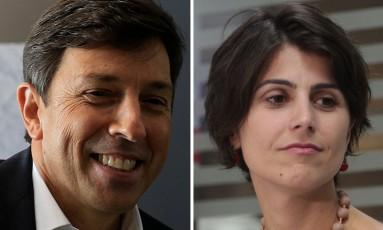 João Amoedo (NOVO) e Manuela D'Ávila (PCdoB): líderes na arrecadação virtual Foto: Montagem de Fotos / Agência O Globo