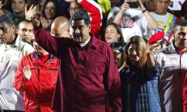 Nicolás Maduro, logo após o anúncio de vitória nas eleições deste domingo Foto: Carlos Garcia Rawlins / Reuters
