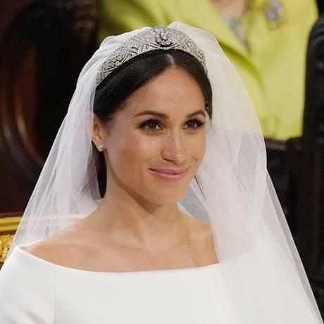 Meghan Markle durante cerimônia de casamento com o príncipe Harry na capela de São Jorge, no castelo de Windsor Foto: JONATHAN BRADY / AFP