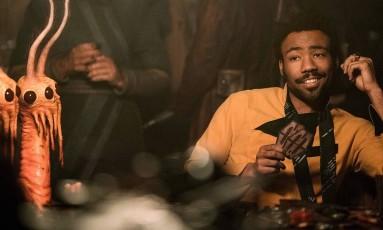 Donald Glover como Lando Calrissian em 'Han Solo: uma aventura Star wars' Foto: Divulgação