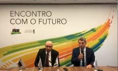 O pré-candidato Henrique Meirelles e o presidente do MDB Romero Jucá Foto: Reprodução / Facebook