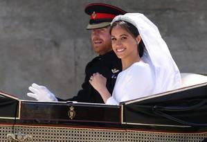 Meghan Markle e príncipe Harry após o seu casamento no Castelo de Windsor Foto: POOL / REUTERS