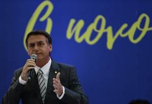 Jair Bolsonaro, candidato à Presidência pelo PSL, participa da XVI Marcha dos Vereadores, em Brasília Foto: Jorge William/Agência O Globo/25-04-2018