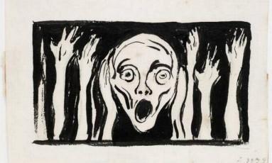 Rascunho de 'O grito', criada em cerca de 1898 Foto: Museu Munch