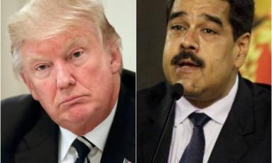 Os presidentes de EUA e Venezuela, Donald Trump e Nicolás Maduro Foto: Reuters