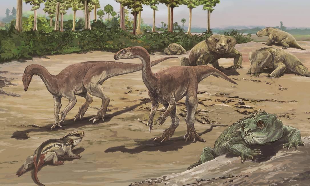 Ilustração da paisagem da região de Agudo, no RS, no Triássico, tendo ao centro uma dupla da espécie recém-descrita, 'Bagualosaurus agudoensis', confrontando um cinodonte (ancestral dos atuais cachorros) 'Trucidocynodon riograndensis', e tendo à frente no canto direito um exemplar de 'Hyperodapedon', réptil herbívoro do grupo dos rincossauros, e ao fundo um grupo de outra espécie de cinodonte, 'Exaeretodon riograndensis' Foto: / Divulgação/Jorge Blanco