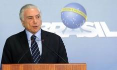 O presidente Michel Temer, durante pronunciamento no Palácio do Planalto Foto: Antonio Cruz/Agência Brasil