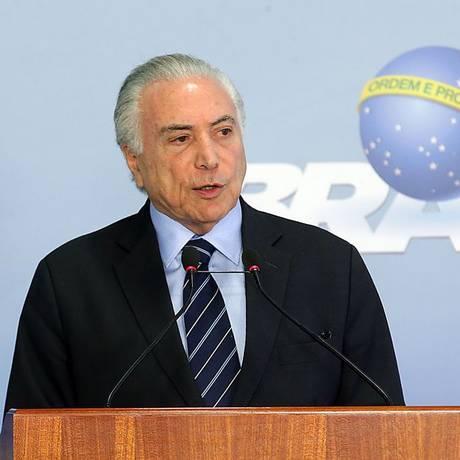 O presidente Michel Temer, durante pronunciamento no Palácio do Planalto na última sexta Foto: Antonio Cruz/Agência Brasil