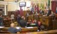 NI Niterói (RJ) 24/05/2018 Sessão plenária. 100 dias após o inÃcio do ano legislativo, a Câmara Municipal, na Av. Amaral Peixoto, no Centro, permanece com a pauta trancada.Foto: Roberto Moreyra / Agência O Globo