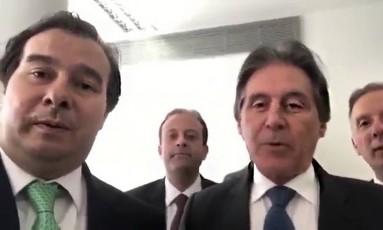 O presidente da Câmara, Rodrigo Maia, e o do Senado, Eunício Oliveira Foto: Reprodução