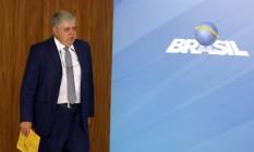 O ministro da Secretaria de Governo, Carlos Marun, durante entrevista após reunião sobre greve dos caminhoneiros Foto: Givaldo Barbosa / Agência O Globo