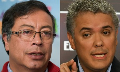 Gustavo Petro (esquerda) e Iván Duque disputarão segundo truno das eleições presidenciais na Colômbia Foto: AFP