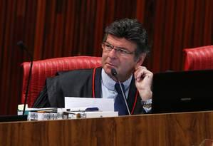 O presidente do Tribunal Superior Eleitoral (TSE), ministro Luiz Fux Foto: Givaldo Barbosa / Agência O Globo 05/04/2018