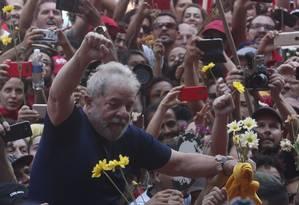 Lula em ato em São Bernardo do Campo Foto: Marcos Alves / Agência O Globo