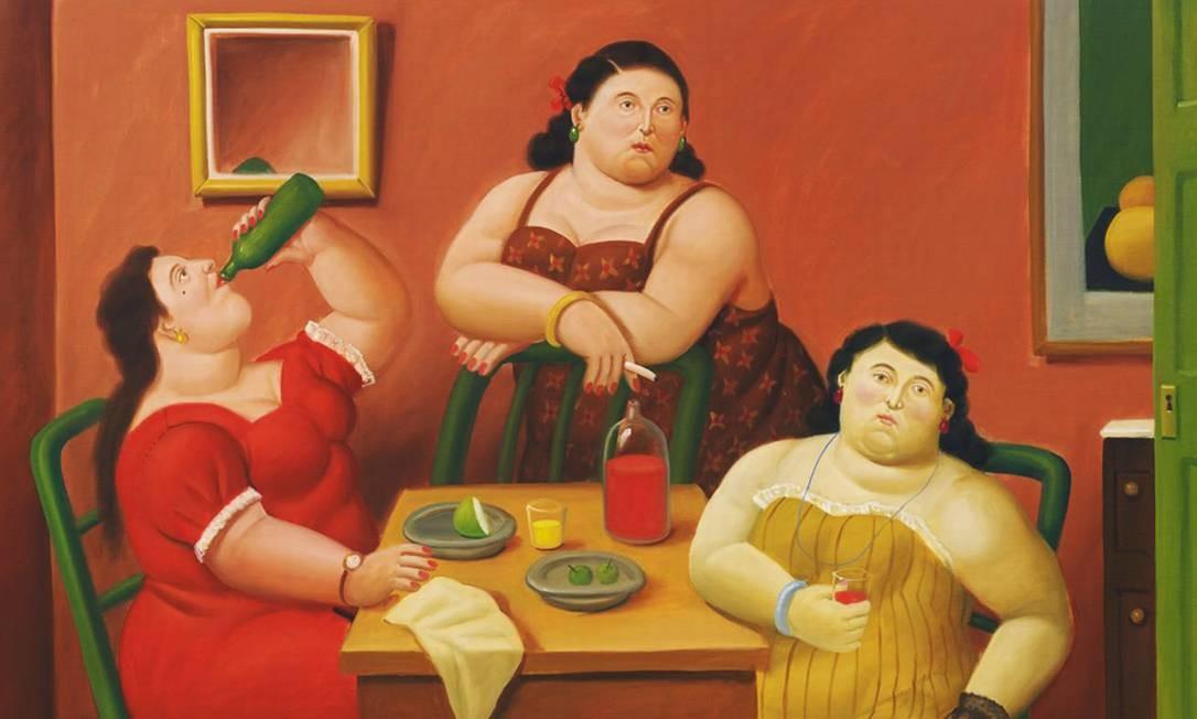 Quadro do artista colombiano Fernando Botero, conhecido por seus personagens 'gordinhos': estudo é nova contradição ao mito da 'obesidade saudável' Foto: / Reprodução