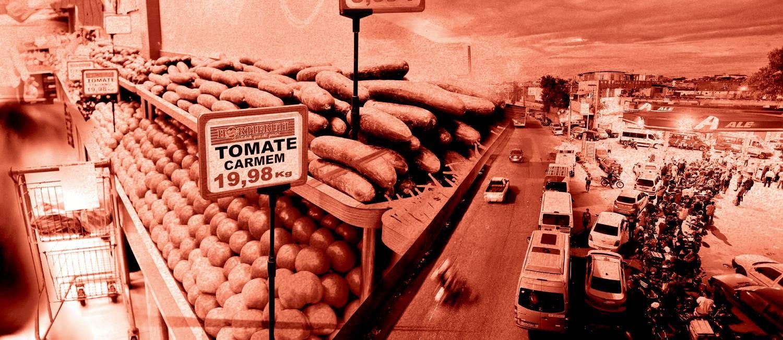 A alta de preço mdo tomate é apenas um dos muitos efeitos da paralisação dos caminhoneiros sobre os consumidores Foto: Editoria de Arte