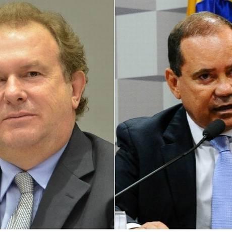 O governador interino Mauro Carlesse e o senador Vicentinho Foto: Montagem sobre fotos de Silvio Santos e Geraldo Magela