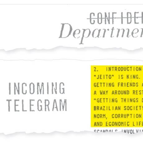 Telegrama, obtido pelo GLOBO, faz parte de um lote de 694 documentos enviados pelo governo do então presidente Barack Obama ao de Dilma Rousseff. Foto: Agência O Globo