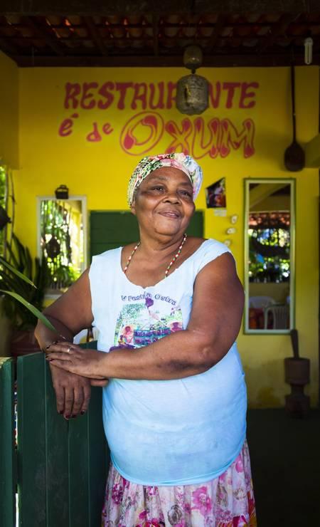 Dona Juvani Viana, dona do restaurante É de Oxum, na comunidade quilombola do Kaonge Foto: Leo Martins / Agência O Globo