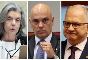 Cármen Lúcia, Alexandre Moraes e Edson Fachin, do Supremo Tribunal Federal Foto: Fotos de Arquivo